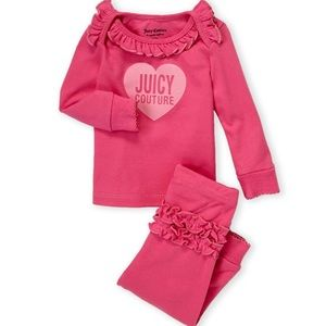 NWT Juicy Couture Ruffle Heart Top & Joggers Set